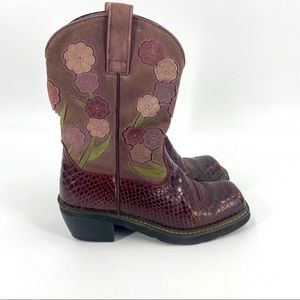 Ariat doll baby burgundy snake print western boots